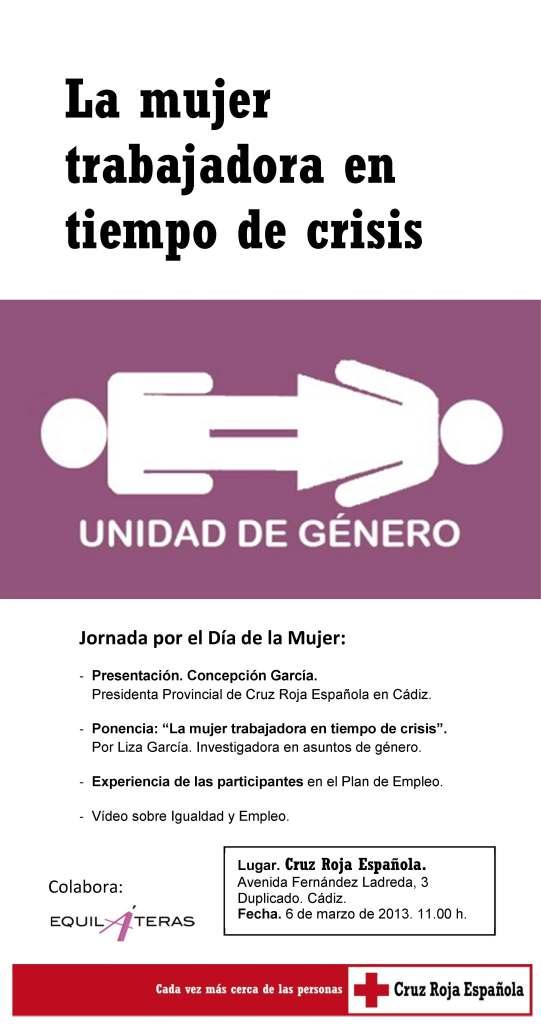 Cartel conferencia de Liza Garcia Reyes en representación de Equiláteras en la Cruz Roja Cádiz