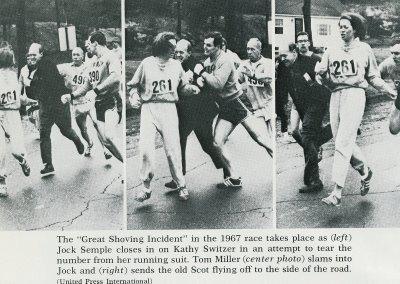 En la imagen, Kathrine Switzer. La primera mujer que consiguió inscribirse de manera oficial con un número de dorsal: el 261; aun cuando le estaba prohibido.
